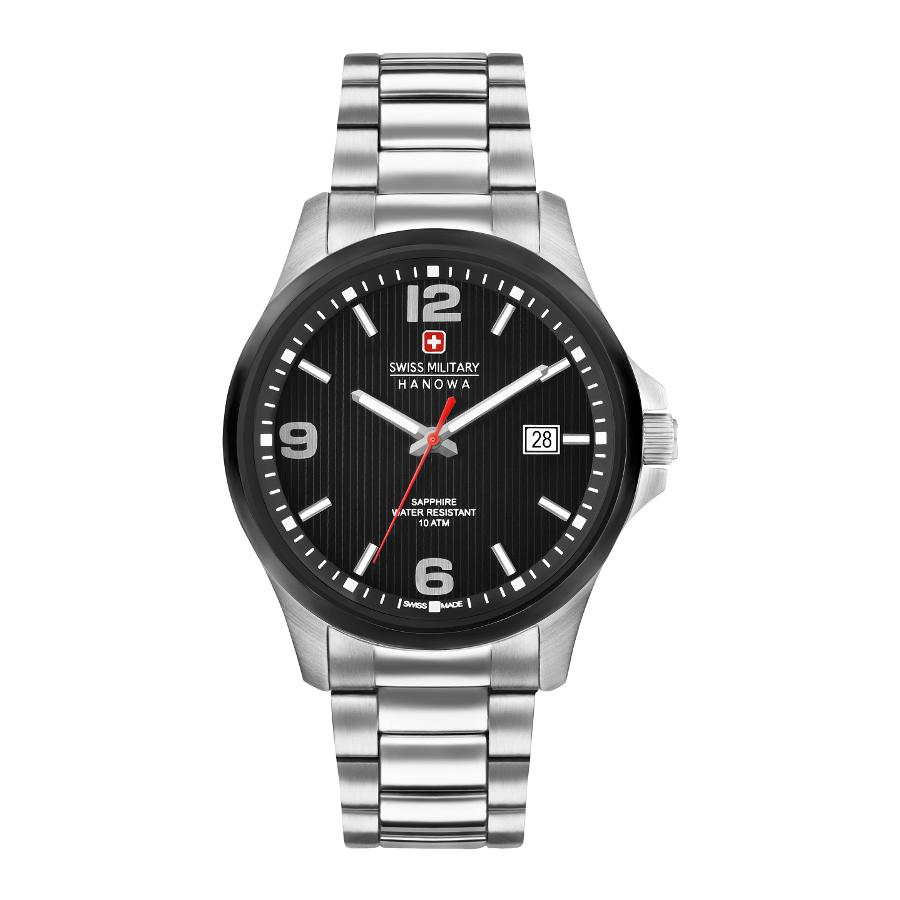 Artikel klicken und genauer betrachten! - Die SWISS MILITARY HANOWA Observer Steel Black Uhr 06-5277.33.007ist eine trendy und modische Analog Herren uhr. Das armband ist aus Edelstahl in de Farbe Silber. Die Herren uhr hat ein Quartz-Uhrwerk miet einem Ziffernblatt in der Farbe Schwarz. Das Gehäuse ist Edelstahl und hat einen durchmesser von 40 mm mit Farbe Schwarz,Silber.   im Online Shop kaufen