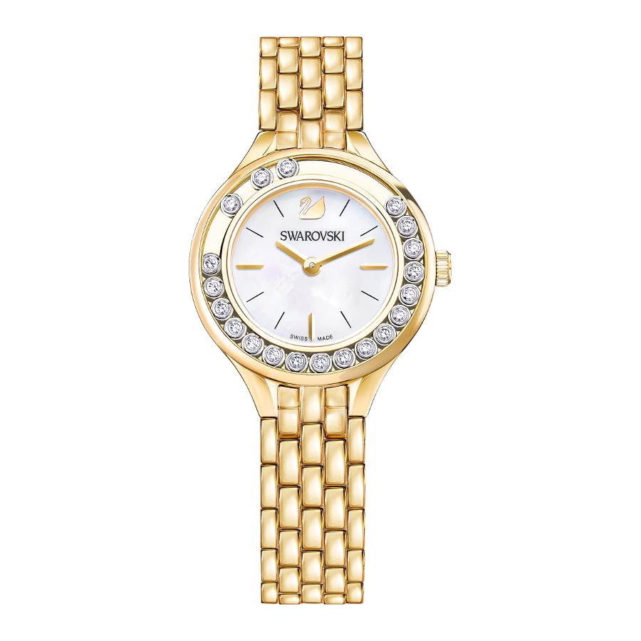 Artikel klicken und genauer betrachten! - Die Swarovski Lovely Crystals Mini MB Uhr 5242895ist eine trendy und modische Analog Damen uhr. Das armband ist aus Edelstahl in de Farbe Gold. Die Damen uhr hat ein Quartz-Uhrwerk miet einem Ziffernblatt in der Farbe Perlmutt. Das Gehäuse ist Edelstahl und hat einen durchmesser von 31 mm mit Farbe Gold. | im Online Shop kaufen
