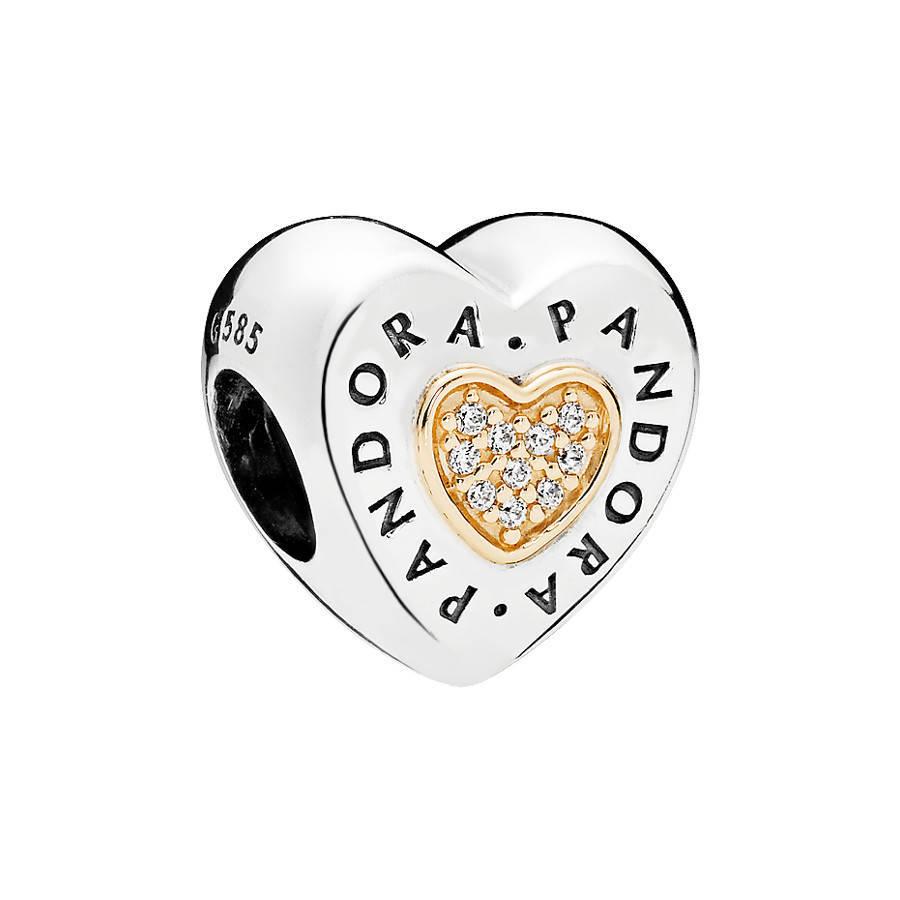 Pandora Moments Goldenes Signature Heart Charm ...