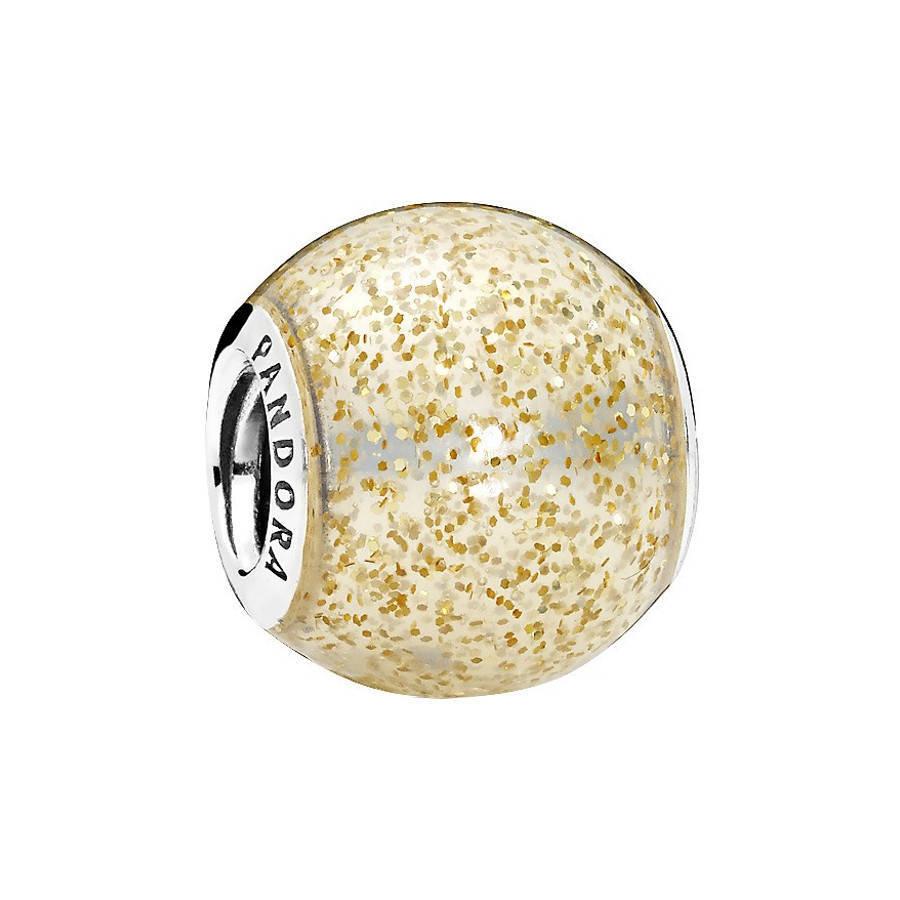 Pandora Moments Silberen Golden Glitter Ball Ch...