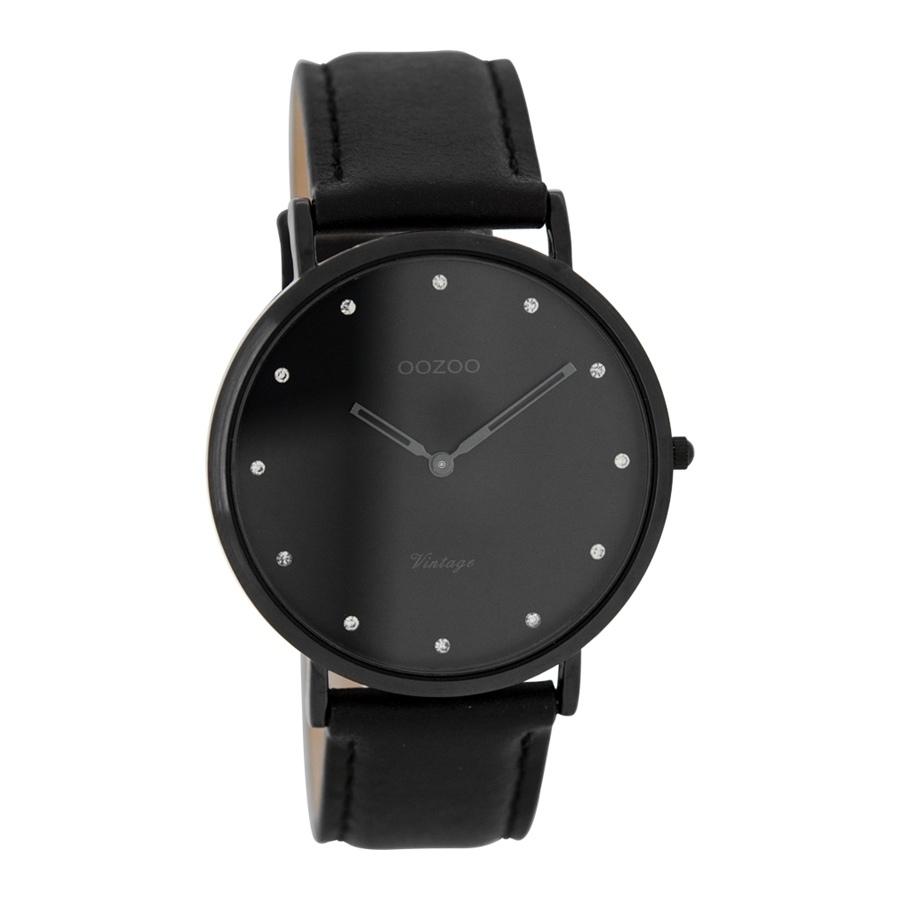 Artikel klicken und genauer betrachten! - Die OOZOO Vintage Schwarz Uhr C7781 (40 mm)ist eine trendy und modische Analog Damen uhr. Das armband ist aus Leder in de Farbe Schwarz. Die Damen uhr hat ein Quartz-Uhrwerk miet einem Ziffernblatt in der Farbe Schwarz. Das Gehäuse ist Edelstahl und hat einen durchmesser von 40 mm mit Farbe Schwarz.   im Online Shop kaufen