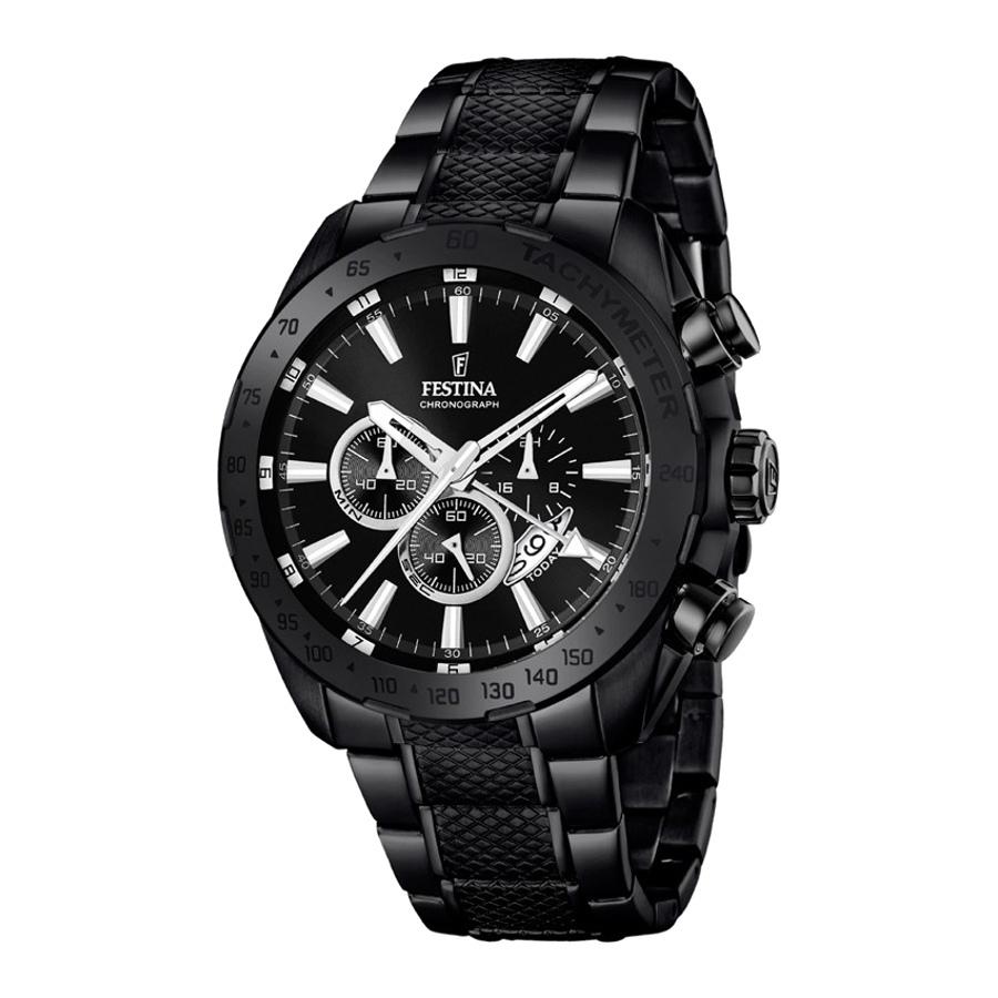 Artikel klicken und genauer betrachten! - Die Festina Prestige Chrono Uhr F16889/1ist eine trendy und modische Analog Herren uhr. Das armband ist aus Edelstahl in de Farbe Schwarz. Die Herren uhr hat ein Miyota-Uhrwerk miet einem Ziffernblatt in der Farbe Silber. Das Gehäuse ist Edelstahl und hat einen durchmesser von 45 mm mit Farbe Schwarz. | im Online Shop kaufen