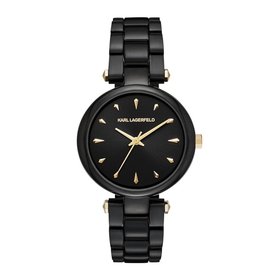 Artikel klicken und genauer betrachten! - Die Karl Lagerfeld Aurelie Uhr KL5003ist eine trendy und modische Analog Damen uhr. Das armband ist aus Edelstahl in de Farbe Schwarz. Die Damen uhr hat ein Quartz-Uhrwerk miet einem Ziffernblatt in der Farbe Schwarz. Das Gehäuse ist Edelstahl und hat einen durchmesser von 34 mm mit Farbe Schwarz.   im Online Shop kaufen