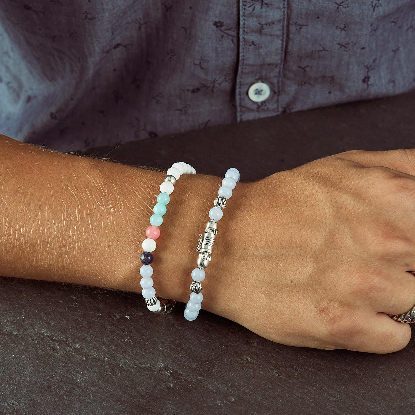 Buddha to Buddha Spirit Bead Mini Blue Lace Agate Armband 189BA (Lengte: 17.00-21.00 cm)