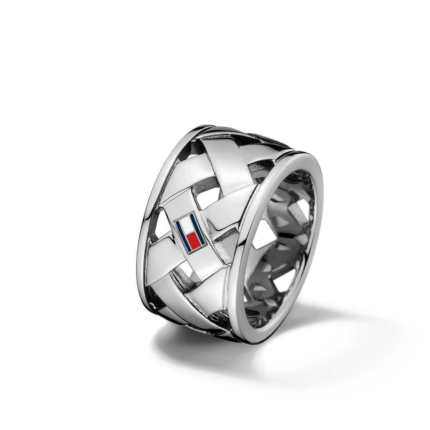 Tommy Hilfiger Basket Weave Silver Ring TJ2701023