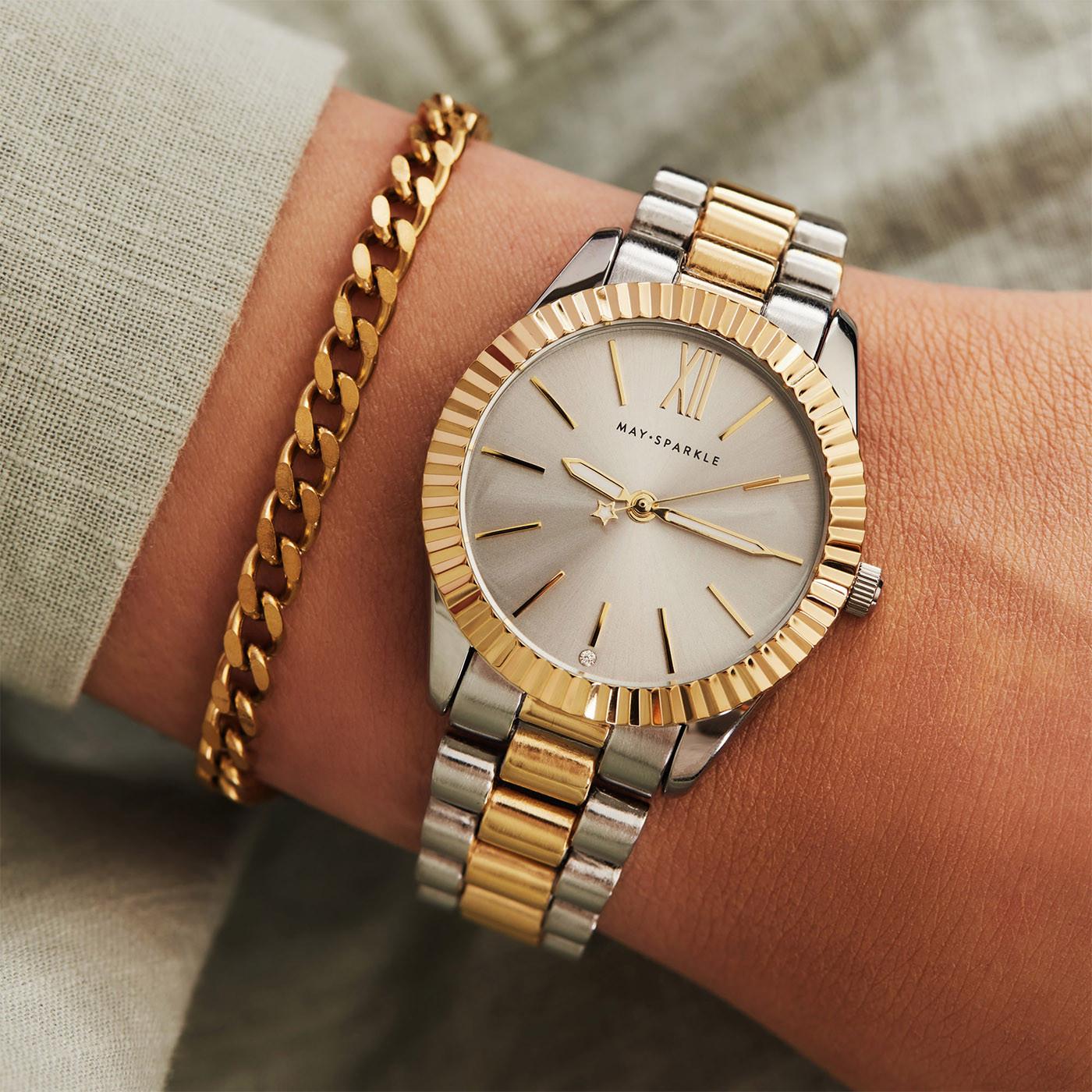 May Sparkle Luxurious Life Stormy Zilver- en Goudkleurig/Grijs horloge MSA007