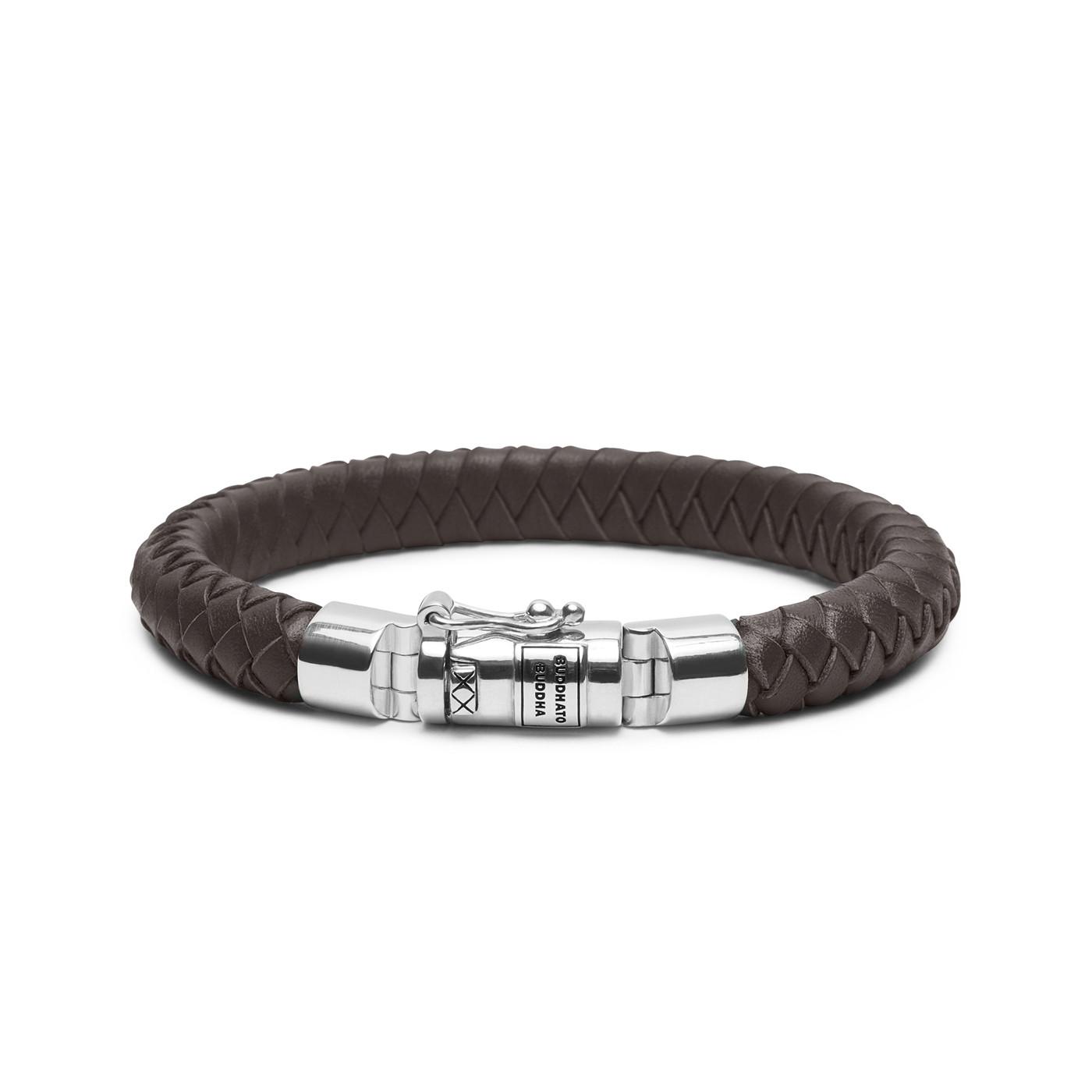 Buddha to Buddha Ben Small Leather Brown Armband 180BR-D (Lengte: 18.00-23.00 cm)
