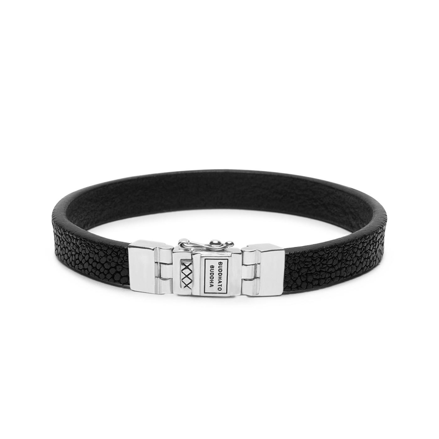 Buddha to Buddha Essential Leather Texture Black Armband 186BL (Lengte: 18.00-23.00 cm)