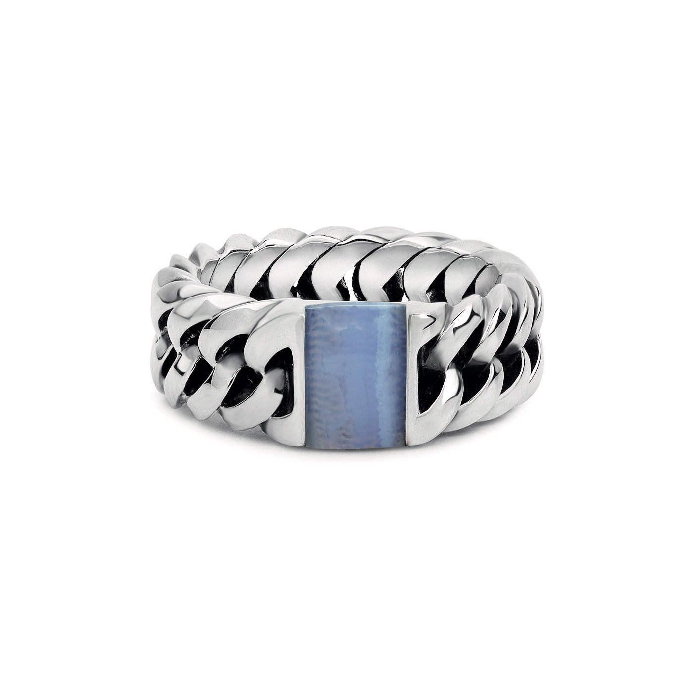 Buddha to Buddha Chain Stone Blue Lace Agate Ring 603BA