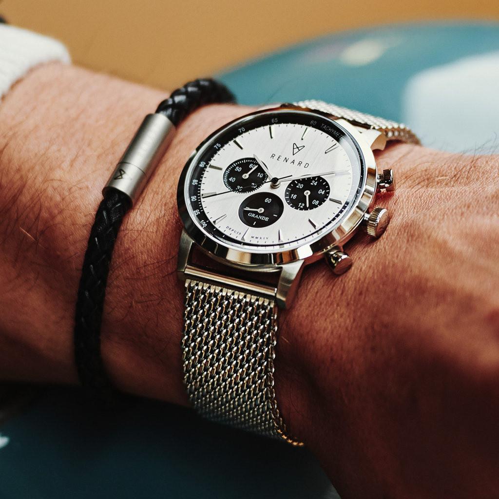 Renard Grande Chrono Herenhorloge Zilverkleurig met Horlogeband Giftset RW90007