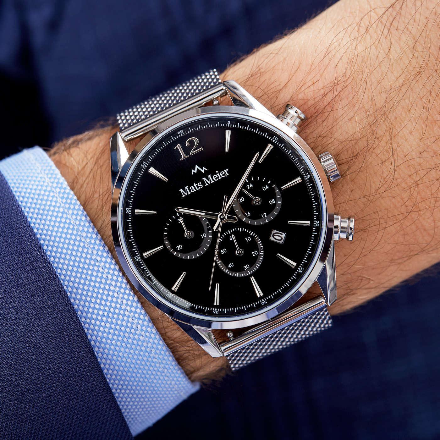 Mats Meier   Grand Cornier zwart/zilverkleurig horloge en 22 mm stalen mesh horlogeband