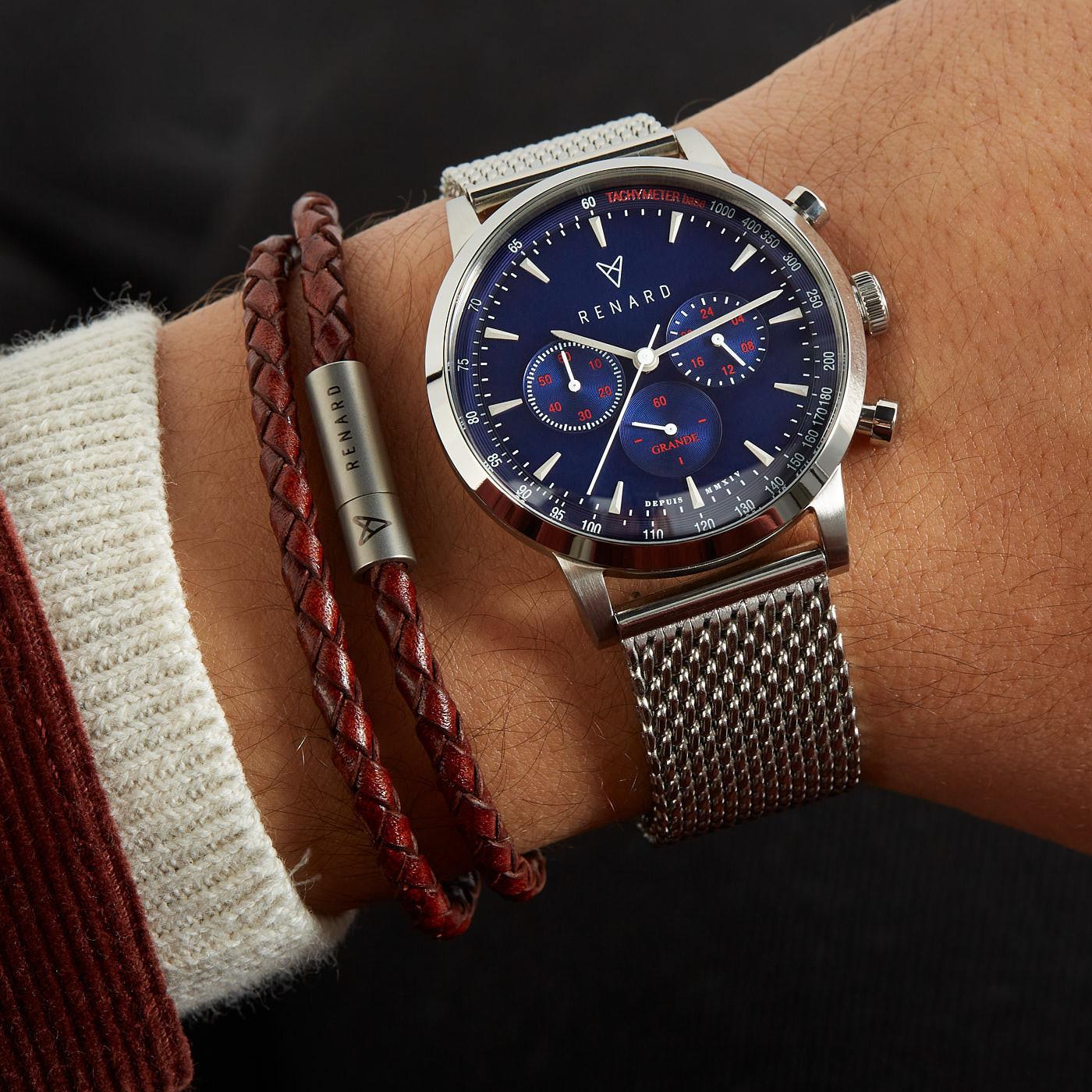 Renard | Grande Chrono herenhorloge zilverkleurig en blauw en 20mm leren horlogeband