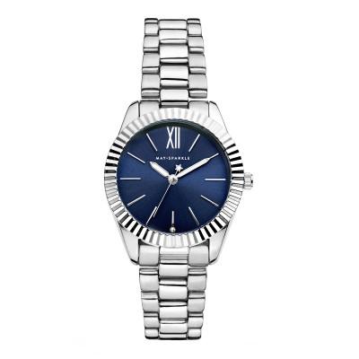 May Sparkle Luxurious Life River Zilverkleurig/Blauw horloge MSA005
