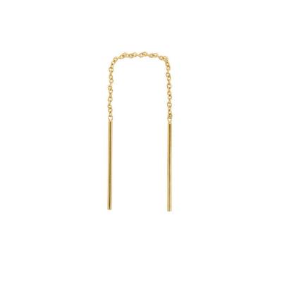ANNA + NINA 14 Karaat Gouden Solid Gold Single Two Bar Chain Oorbel 18-2M902039G