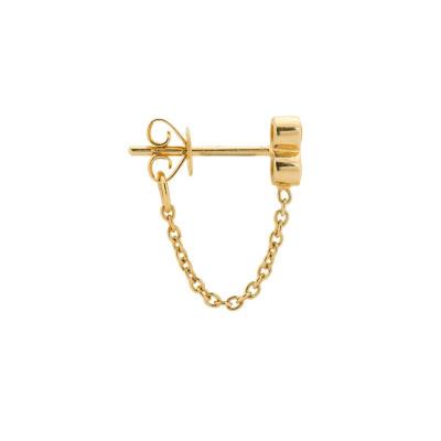 ANNA + NINA 14 Karaat Gouden Solid Gold Single Chain Stud Oorsteker 18-2M902047G