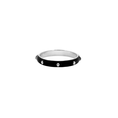 ANNA + NINA 925 Sterling Zilveren Dolly Ring Black 21-2M9080S