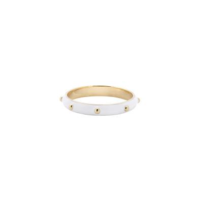 ANNA + NINA 925 Sterling Zilveren Goudkleurige Dolly Ring White