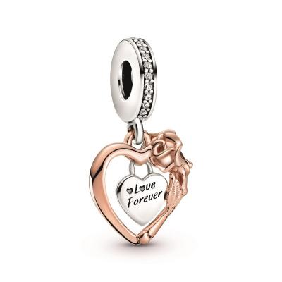 Pandora People 925 Sterling Zilveren Roségoudkleurige Heart & Flower Bedel 789290C01
