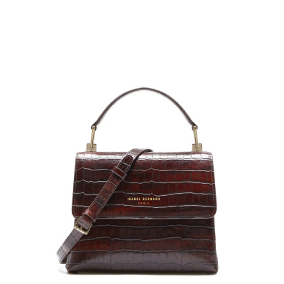 Isabel Bernard Femme Forte Heline kroko braune Handtasche aus Kalbsleder IB21013
