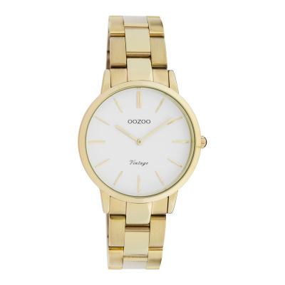 OOZOO Vintage Goudkleurig/Wit horloge C20046