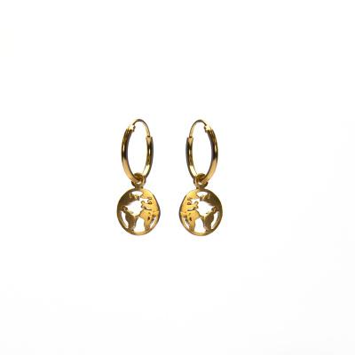 Karma 925 Sterling Zilveren Hoops Symbols Goudkleurige Earth Oorknoppen M2218
