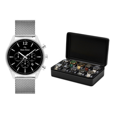 Mats Meier Mont Fort Horlogebox Zwart met Horloge Giftset MM90006