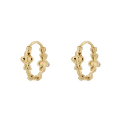 ANNA + NINA 925 Sterling Zilveren Fou d'Amour Eden Ring Goudkleurige Oorbellen 19-1M902021GP