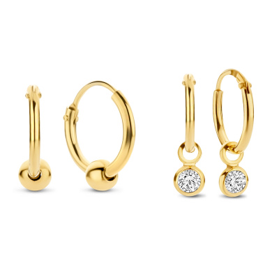 Selected Jewels Selected Gifts 925 sterling zilveren goudkleurige set oorbellen SJSET2100899