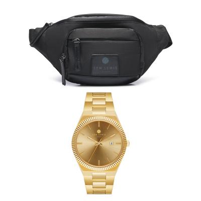 Sem Lewis Sem's Present Bauchtasche schwarz und Uhr SL90010