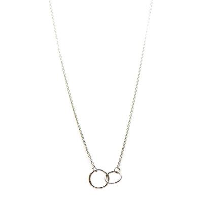 Karma Necklace Double Circle Silver Ketting T20-COL-DC-S (Lengte: 42-45 cm)