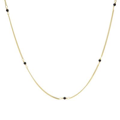 Karma 925 Sterling Zilver Goudkleurige Tiny Onyx Ketting T255GP (Lengte: 38.00 - 45.00 cm)