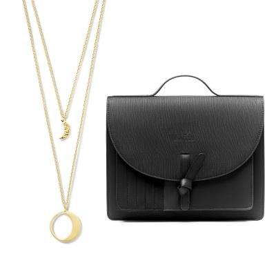 Violet Hamden Violet's Gift 925 Sterling Silber goldfarbenes Kette und schwarzer Crossbody VH90021