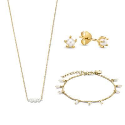 Violet Hamden Violet's Gift 925 Sterling Silber goldfarbenes Set Kette, Armband und Ohrhänger VH90029